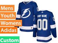 Mens Women Youth Tampa Bay Lightning Custom Made Blue Adidas Jersey