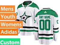 Mens Women Youth Adidas Dallas Stars Custom Made White Away Jersey