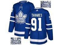 Mens Adidas Nhl Toronto Maple Leafs #91 John Tavares Blue Fashion Gold Lace Embroidery Jersey