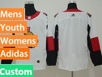 Mens Women Youth Ottawa Senators Custom Made White Adidas Jersey