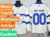 Mens Women Youth Adidas Toronto Maple Leafs Custom Made White 2018 Stadium Series Jersey