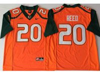 Mens Ncaa Nfl 2018 Miami Hurricanes #20 Ed Reed Orange Game Jersey