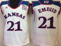 Mens Ncaa Nba Kansas Jayhawks #21 Embiid White Jersey