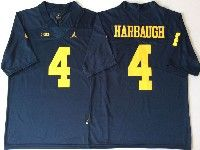 Mens Ncaa Nfl Michigan Wolverines #4 Harbaugh Blue Limited Jersey