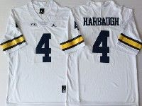 Mens Ncaa Nfl Michigan Wolverines #4 Harbaugh White Limited Jersey