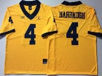 Mens Ncaa Nfl Michigan Wolverines #4 Harbaugh Yellow Limited Jersey