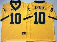 Mens Ncaa Nfl Jordan Brand Michigan Wolverines #10 Tom Brady Yellow Limited Jersey