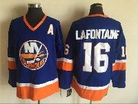 Mens Nhl New York Islanders #16 Pat Lafontaine Blue Throwback Ccm Jersey With A Patch