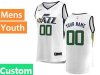 Mens Youth Nba Utah Jazz Custom Made White Nike Swingman Jersey
