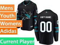 Mens Adidas San Jose Sharks Alternate Black Current Player Jersey