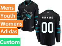 Mens Adidas San Jose Sharks Custom Made Alternate Black Jersey