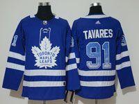 Mens Adidas Nhl Toronto Maple Leafs #91 John Tavares Blue Drift Fashion Home Jersey