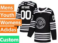 Mens Nhl Chicago Blackhawks Custom Made Black 2019 Winter Classic Adidas Jersey