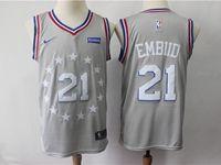Mens 2018-19 Nba Philadelphia 76ers #21 Joel Embiid Gray Nike City Edition Jersey