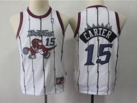 Youth Nba Toronto Raptors #15 Vince Carter White Hardwood Classics Jersey