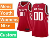 Mens Youth Nba Houston Rockets Custom Made Red Nike Swingman Jersey