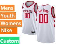 Mens Youth Nba Houston Rockets Custom Made White Nike Swingman Jersey