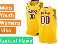 Mens Women Youth Nba 2018-19 Los Angeles Lakers Current Player Gold Nike Swingman Jersey