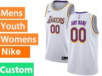 Mens Women Youth Baby Nba 2018-19 Los Angeles Lakers Custom Made White Nike Swingman Jersey