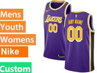 Mens Women Youth Baby Nba 2018-19 Los Angeles Lakers Custom Made Nike Swingman Purple Jersey