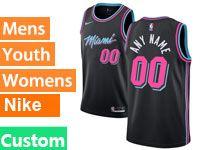 Mens Nba Miami Heat Custom Made Black Nike Vice Uniform City Edition Swingman Jersey