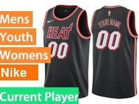 Mens 2017-18 Season Nba Miami Heat Current Player Black Throwback Nike Swingman Jersey