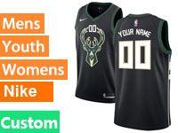 Mens Womens Youth Nba Milwaukee Bucks Custom Made Black Nike City Edition Jersey
