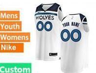 Mens Womens Youth 2017-18 Nba Minnesota Timberwolves Custom Made White Nike Swingman Jersey