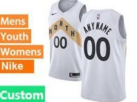 Mens Womens Youth 2018-19 Nba Toronto Raptors Custom Made White Nike City Edition Jersey