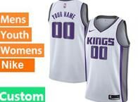 Mens Womens Youth Nba Sacramento Kings Custom Made White Nike Jersey
