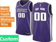 Mens Womens Youth Nba Sacramento Kings Custom Made Purple Nike Jersey