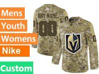Mens Women Youth Adidas Vegas Golden Knights Custom Made Camo Jersey