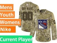 Mens Women Youth Adidas New York Rangers Current Player Camo Jersey