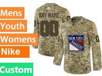 Mens Women Youth Adidas New York Rangers Custom Made Camo Jersey