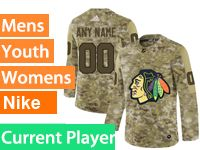 Mens Women Youth Adidas Chicago Blackhawks Current Player Camo Jersey