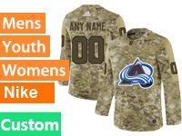 Mens Women Youth Adidas Colorado Avalanche Custom Made Camo Jersey