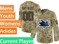 Mens Women Youth Adidas San Jose Sharks Current Player Camo Jersey