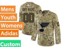 Mens Women Youth Adidas Nhl St.louis Blues Custom Made Camo Jersey