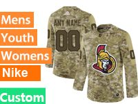 Mens Women Youth Adidas Ottawa Senators Custom Made Camo Jersey