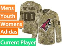 Mens Women Youth Adidas Arizona Coyotes Current Player Camo Jersey