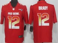 Mens New England Patriots #12 Tom Brady Red 2019 Pro Bowl Nike Royal Limited Jersey