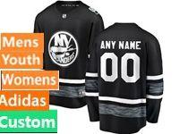 Mens Women Youth Adidas New York Islanders Black Custom Made 2019 All Star Jersey