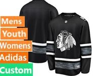 Mens Women Youth Adidas Chicago Blackhawks Black Custom Made 2019 All Star Jersey