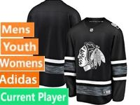 Mens Women Youth Adidas Chicago Blackhawks Black Current Player 2019 All Star Jersey