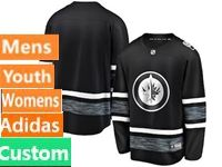 Mens Women Youth Adidas Winnipeg Jets Black Custom Made 2019 All Star Jersey