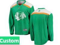 Mens Nhl Chicago Blackhawks Green 2019 St. Patrick's Day Custom Made Jersey