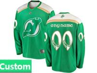 Mens Nhl New Jersey Devils Green 2019 St. Patrick's Day Custom Made Jersey