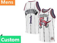 Mens Nba Toronto Raptors Custom Made Mitchell&ness Hardwood Classics White Jersey