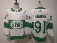 Mens Nhl Toronto Maple Leafs #91 John Tavares Adidas St. Pats Adidas Authentic White Jersey