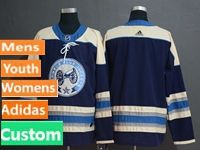Mens Women Youth Nhl Columbus Blue Jackets Custom Made Alternate Premier Navy Blue Adidas Jersey